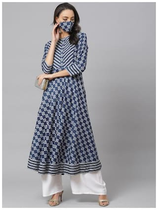 Yash Gallery Women Blue Printed Anarkali Kurta