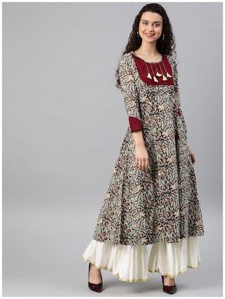 YASH GALLERY Women`s Cotton A-Line Kalamkari Print Kurti