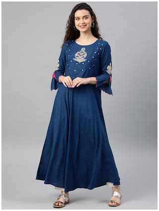 Yash Gallery Women Blue Embroidered Anarkali Kurta