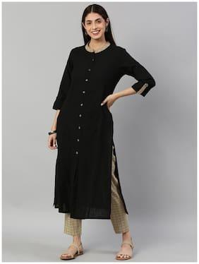 Yash Gallery Women Black Solid Straight Kurta With Pants