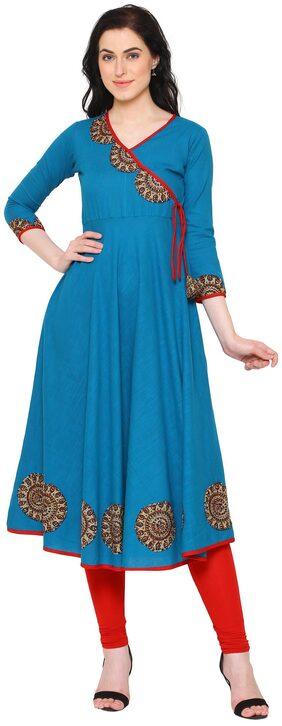 Yash Gallery Women Cotton Printed Anarkali Kurta - Blue