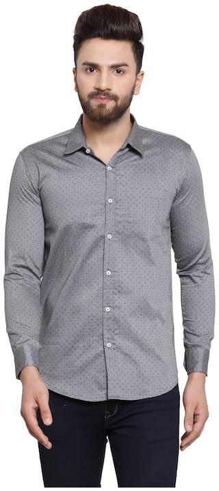 YBA Men Grey Printed Slim Fit Casual Shirt