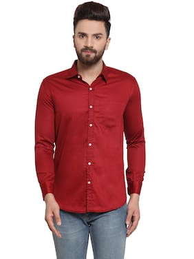 YBA Men Red Solid Slim Fit Casual Shirt