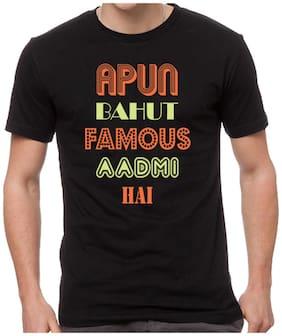 Yedaz Black Round Neck Half Sleeve Bollywood T Shirt - Apun Bahut Famous Hai