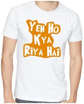 Yedaz White Round Neck Half Sleeve Bollywood T Shirt -Yeh Kya