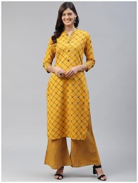 HIGHLIGHT FASHION EXPORT Women Yellow Printed Straight Kurta With Palazzo