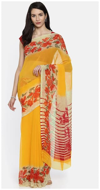 a7f933e19b Buy yellow flower print georgette printed full saree with matching ...