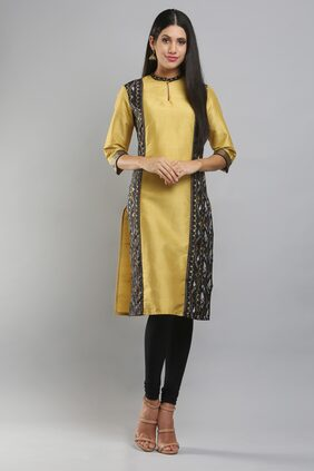 Beige & Yellow Printed Kurta