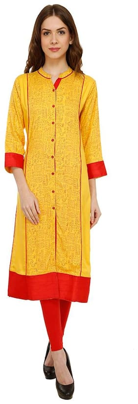 Luxury Living Yellow Print Kurti
