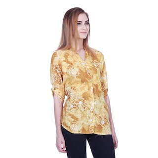 Yellow Printed Yellow Rayon Printed shirt tunic qqgBYwr