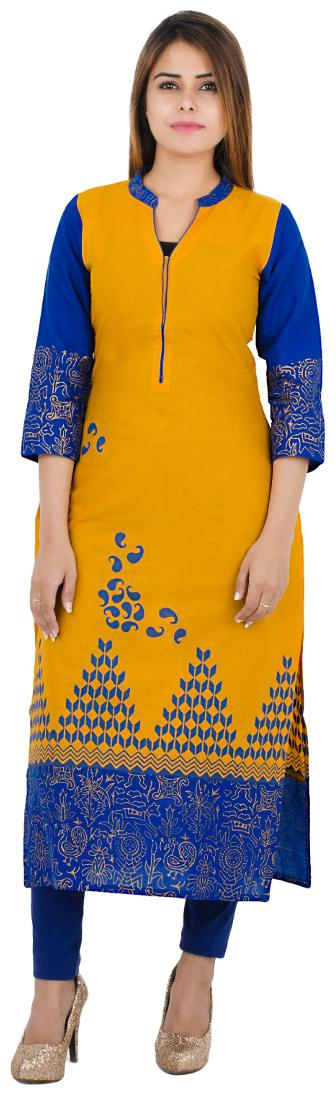 Zoeyam's Women Yellow Printed Straight Kurta by Zoeyams