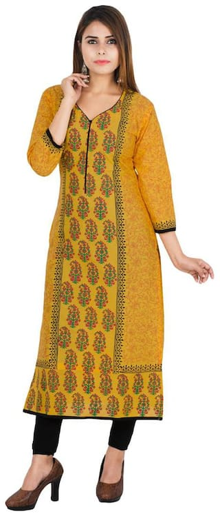 Zoeyam's Women Yellow Printed Straight Kurta