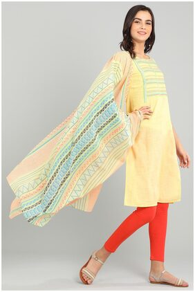 Aurelia Women Cotton Printed Straight Kurta - Yellow