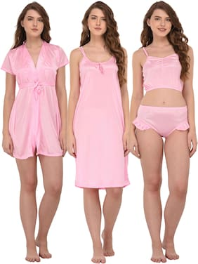 Women Solid Nightdress ,Pack Of 3