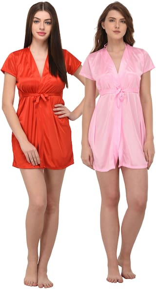 f2be394cb6 Buy You Forever Satin Night Gown Solid Nightwear - Multi Online at ...