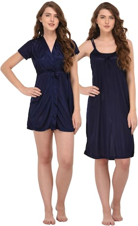 Women Solid Nightdress ,Pack Of 2