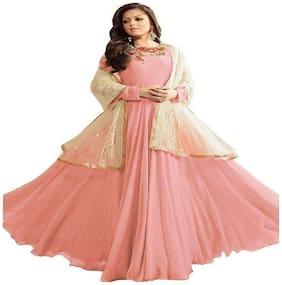 YOYO Fashion Georgette Comfort Floral Gown - Peach