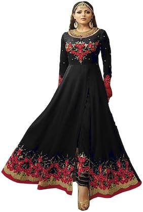 YOYO Fashion Georgette Mix & match Dress Material for Kurta, Bottom & Dupatta - Black