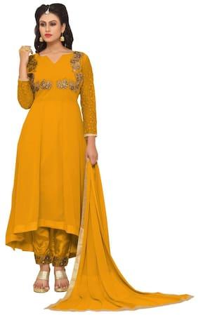 YOYO Fashion Georgette Printed Dress Material - Orange