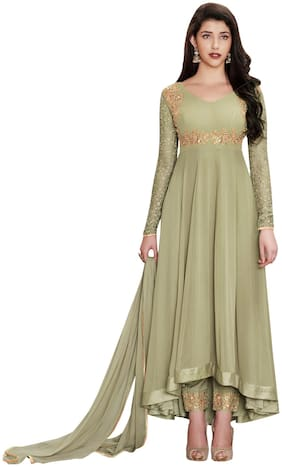 YOYO Fashion Faux Georgette Light Green Anarkali Semi-Stitched Salwar Suit With Dupatta