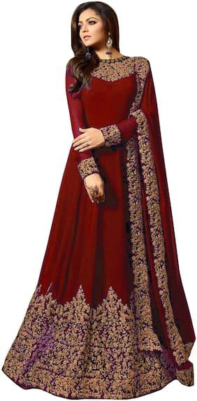 YOYO Fashion Georgette Regular Floral Gown - Red