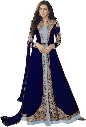 YOYO Fashion Blue Georgette Embroidered Anarkali Suit