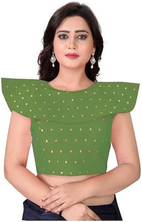 YOYO Fashion Green Malbari Solid Extra Sleeve With Blouse