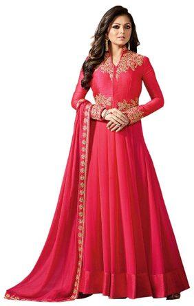 YOYO Fashion Georgette Regular Solid Gown - Red