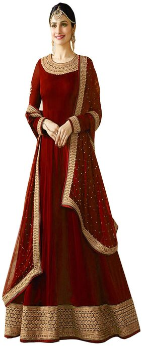 YOYO Fashion  Designer  Latest  Semi-stitched  Faux Georgette  Red Anarkali Gown