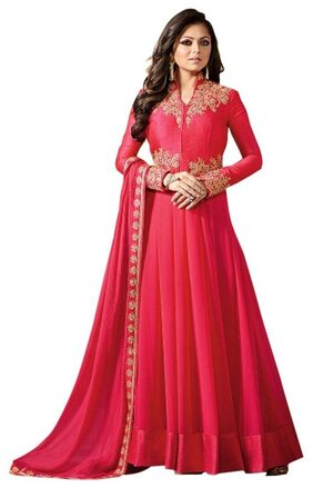 YOYO Fashion Georgette Comfort Solid Gown - Red