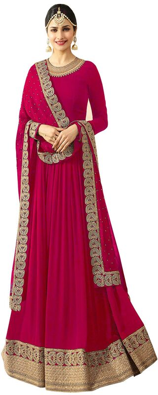 YOYO Fashion  Designer  Latest  Semi-stitched  Faux Georgette  Pink  Anarkali Gown