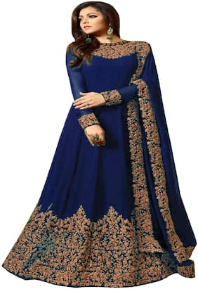 YOYO Fashion Georgette Regular Floral Gown - Blue
