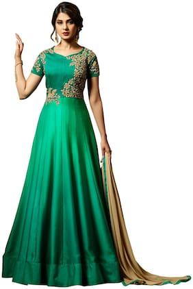 YOYO Fashion Silk Mix & match Dress Material for Kurta, Bottom & Dupatta - Green