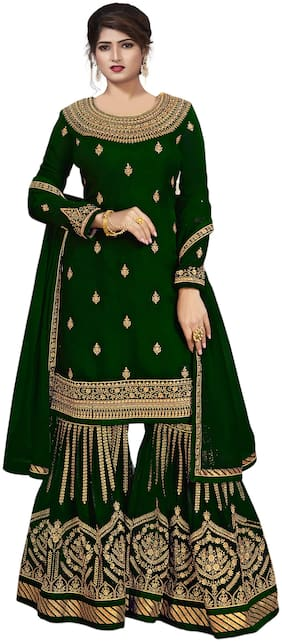 YOYO Fashion Green Embroidered Semi-Stitched Sharara Suit With Dupatta For Women