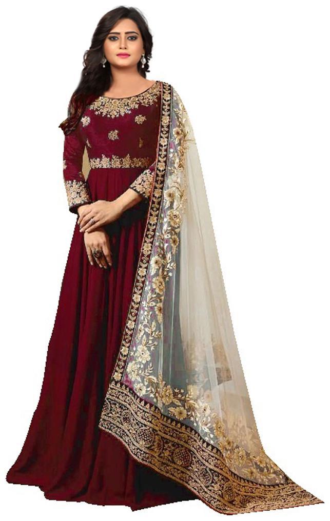 YOYO Fashion Faux Georgette Blue Anarkali Salwar Suits With Dupatta