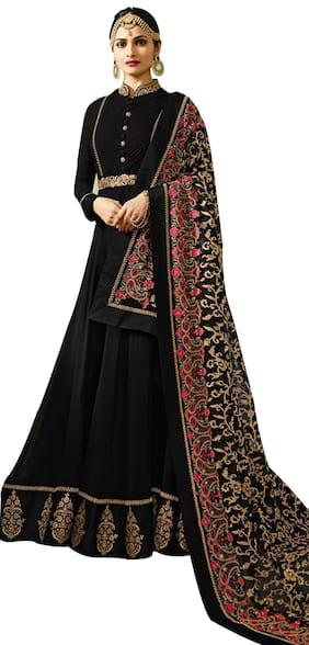 YOYO Fashion  Designer  Faux Georgette  Black Semi-stitched    Anarkali Gown