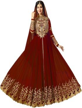 YOYO Fashion  Designer  Faux Georgette Red Semi-stitched    Anarkali Gown