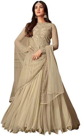 YOYO Fashion Nylon Net Beige Anarkali Semi-Stitched Salwar Suits With Dupatta