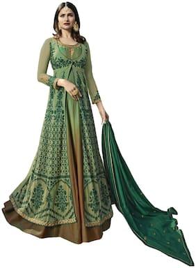 YOYO Fashion Nylon Net C-Green Anarkali Salwar Suits With Dupatta