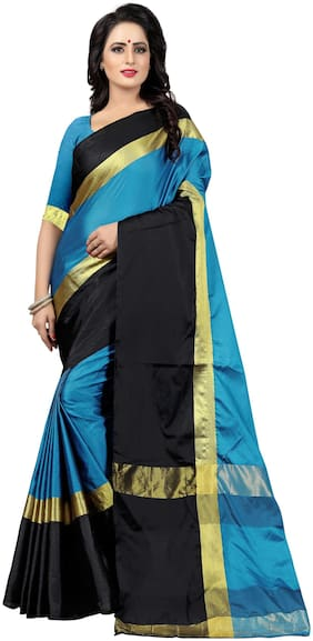 YOYO Fashion Silk Universal Block print work Saree - Blue , With blouse