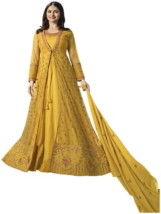 YOYO Fashion Net Mix & match Dress Material for Kurta, Bottom & Dupatta - Yellow