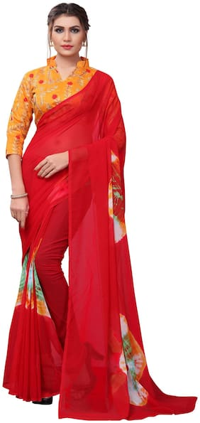 YOYO Fashion Georgette Red Printed Saree With Blouse