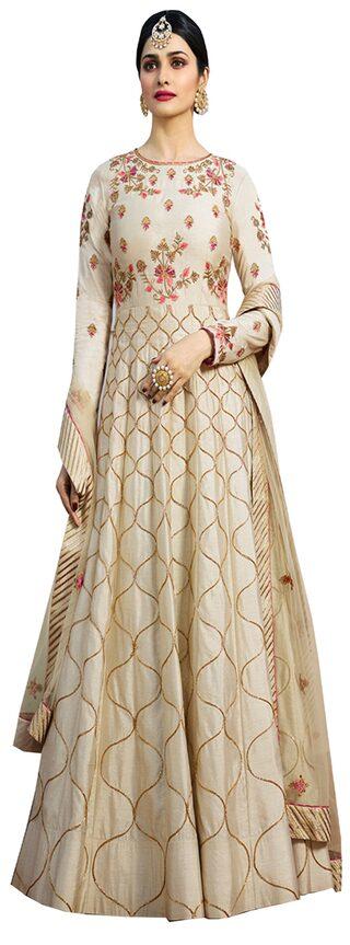 YOYO Fashion Silk Regular Floral Gown - Peach