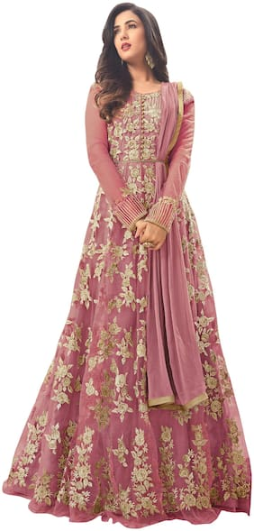 YOYO Fashion Net Mix & match Dress Material for Kurta, Bottom & Dupatta - Pink