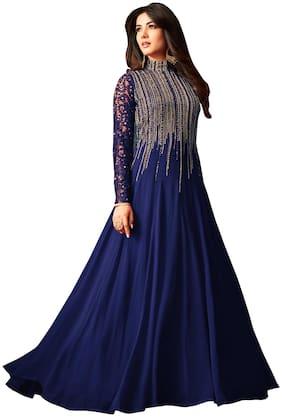 YOYO Fashion Georgette Mix & match Dress Material for Kurta, Bottom & Dupatta - Blue