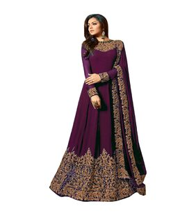 YOYO Fashion Semi-stitched  Purple  Faux Georgette Anarkali Gown