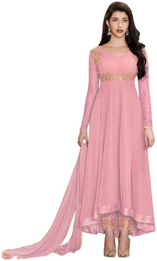 YOYO Fashion Faux Georgette Pink Embroidered Anarkali Semi-Stitched Salwar Suits With Dupatta