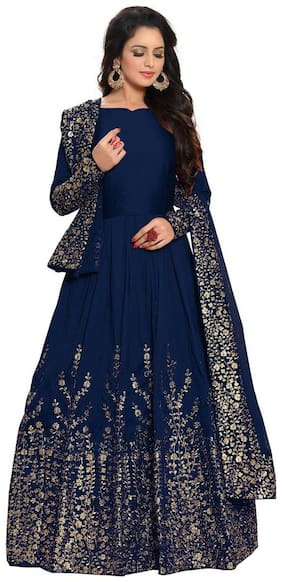 YOYO Fashion Designer Embroidered Tafeta Silk Bridal Anarkali Salwar Suit