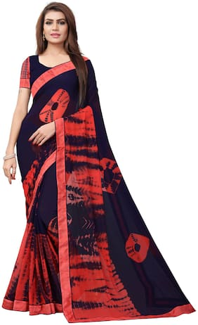 YOYO Fashion Georgette Navy Blue Printed Saree With Blouse