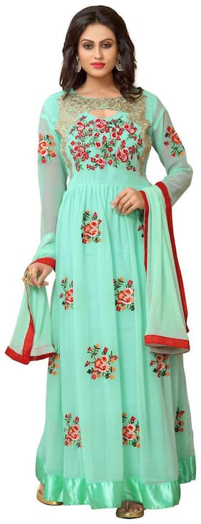 YOYO Fashion Georgette Comfort Printed Gown - Green